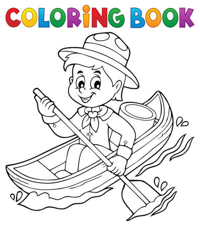 Coloring book water scout boy theme 1 - eps10 vector illustration. Illustration