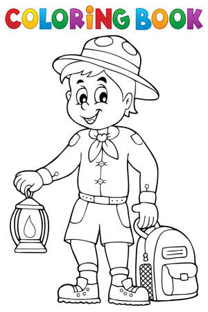 Coloring book scout boy theme 3 - eps10 vector illustration. Illustration