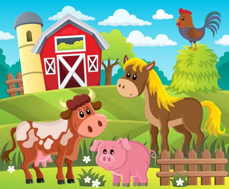 Farmland with animals theme 1 - eps10 vector illustration.