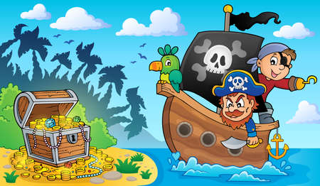 Pirate boat theme 2 - eps10 vector illustration.