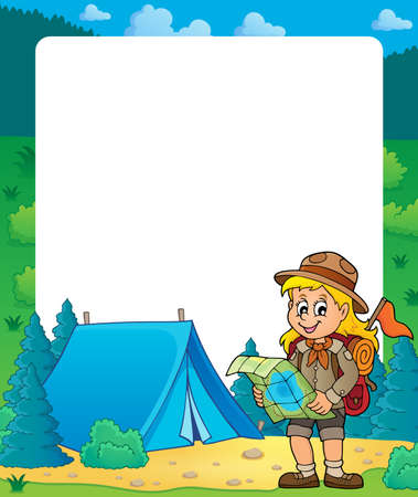 Summer frame with scout girl theme 2 - eps10 vector illustration.