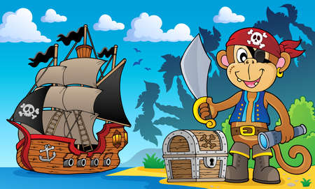 Pirate monkey topic 3 - eps10 vector illustration.