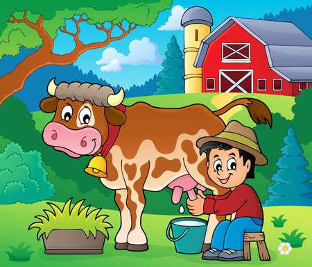 Farmer milking cow image 2 - eps10 vector illustration. Illustration
