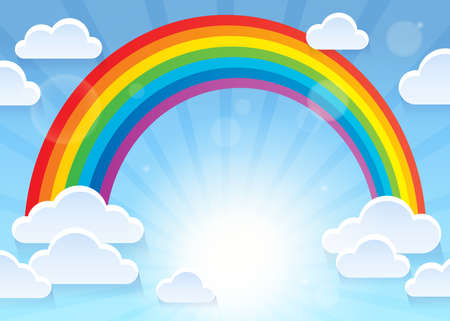Rainbow and stylized clouds theme 1 - eps10 vector illustration.