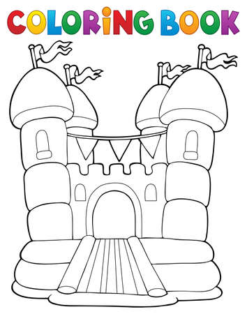 Coloring book inflatable castle - eps10 vector illustration.
