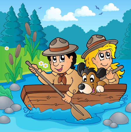 river water: Water scouts on river - eps10 vector illustration.