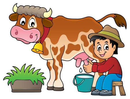 Farmer milking cow image 1 - eps10 vector illustration. Illustration