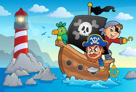 eyepatch: Pirate boat theme 3 - eps10 vector illustration. Illustration