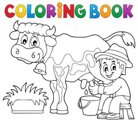 Coloring book farmer milking cow - eps10 vector illustration.