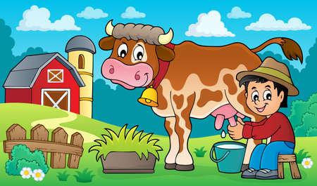 Farmer milking cow image 3 - eps10 vector illustration. Illustration