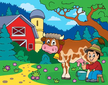 Immagine di mucca di mungitura del contadino 4 - illustrazione vettoriale di eps10.