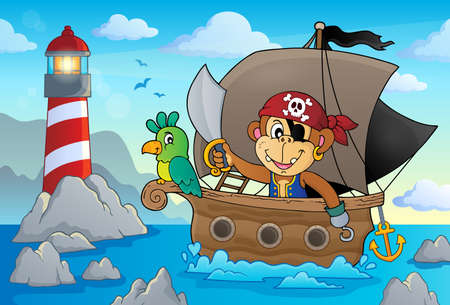 Boat with pirate monkey theme 2