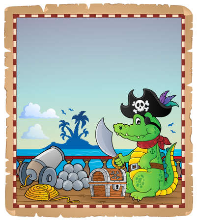 Parchment with pirate crocodile on ship - eps10 vector illustration. Illustration