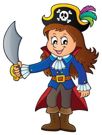 Pirate girl theme image 1 - eps10 vector illustration.
