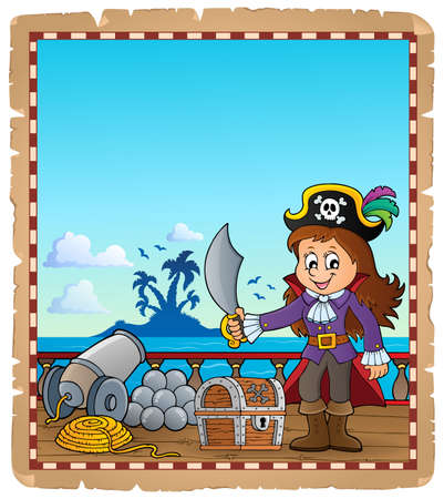 Parchment with pirate girl on ship