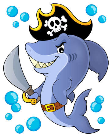 Pirate shark topic image 1 - eps10 vector illustration. Illusztráció
