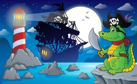 scarf beach: Night pirate scenery 5 - eps10 vector illustration.