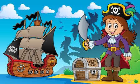 Pirate girl theme image 4 - eps10 vector illustration.