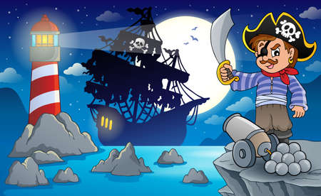 scarf beach: Night pirate scenery 6 - eps10 vector illustration. Illustration
