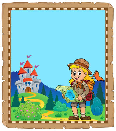 Parchment with scout girl theme 4 - eps10 vector illustration.