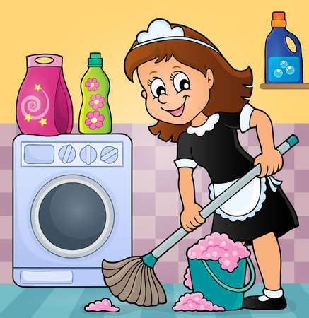 domestic room: Cleaning lady theme image 5 - eps10 vector illustration. Illustration