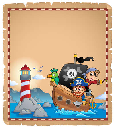 Parchment with pirate boat theme 1 - eps10 vector illustration.