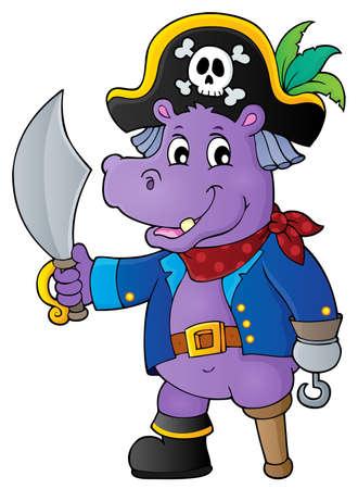 Pirate hippo theme 1 - eps10 vector illustration.