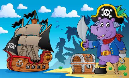 Pirate hippo theme 2 - eps10 vector illustration. Illustration