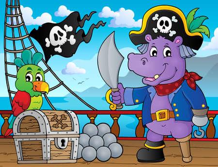 Pirate hippo theme 3 - eps10 vector illustration. Illustration