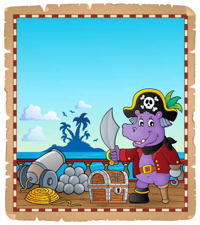 Parchment with pirate hippo on ship Illustration