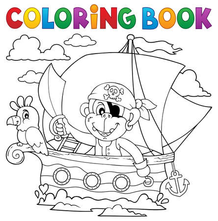 eyepatch: Coloring book boat with pirate monkey
