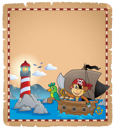 Parchment with pirate monkey on boat Illustration