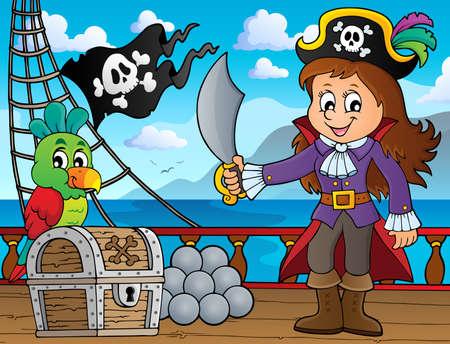Pirate girl theme image 3 - eps10 vector illustration.