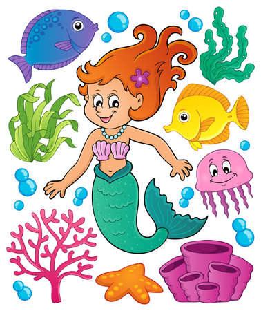 Mermaid topic set 1 - eps10 vector illustration.