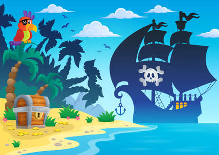 Pirate vessel silhouette theme 4 - eps10 vector illustration.