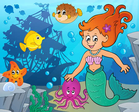 Mermaid topic image 4 - eps10 vector illustration.