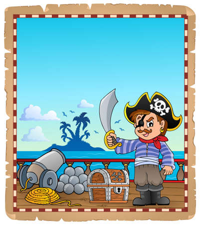Parchment with pirate boy on ship - eps10 vector illustration.
