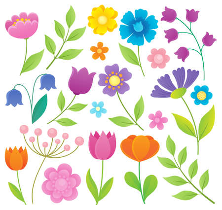 Stylized flowers topic set 1 - eps10 vector illustration. Illustration