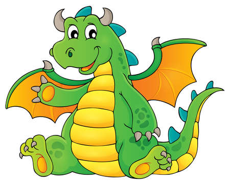 Happy dragon topic image 1 - eps10 vector illustration. Illustration