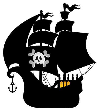 Pirate vessel silhouette theme 1 - eps10 vector illustration.