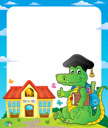 Frame with school theme crocodile - eps10 vector illustration.