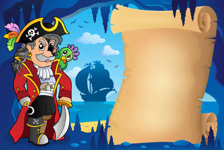 eyepatch: Parchment in pirate cave image 2 - eps10 vector illustration.