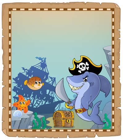 Parchment with pirate shark 2 - eps10 vector illustration. Illustration