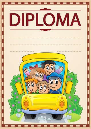 schoolbus: Diploma thematics image 2 - eps10 vector illustration. Illustration
