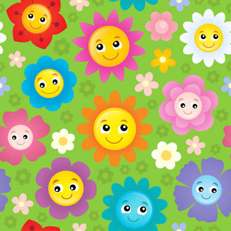 beauty smile: Happy flower heads seamless background 1 - eps10 vector illustration.