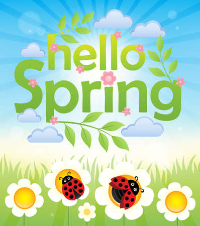 Hello spring theme image 6 - eps10 vector illustration. Illustration