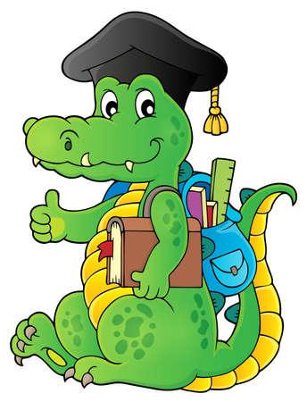 School theme crocodile image 1 - eps10 vector illustration. Illustration