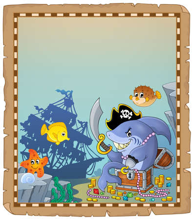 Parchment with pirate shark 1 - eps10 vector illustration.