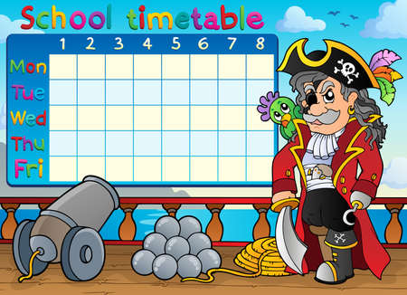 School timetable with pirate on ship - eps10 vector illustration.