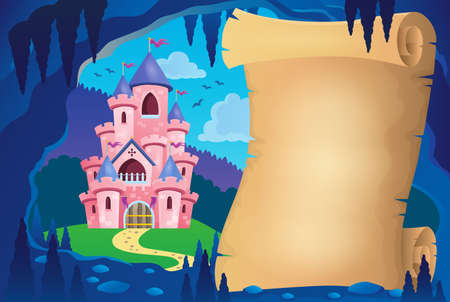 Parchment in fairy tale cave image 2 - eps10 vector illustration. Illustration